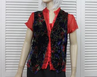 Vintage Christmas Vest Velvet Poinsettias Size Small-Medium Blue/Black/Red