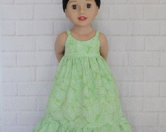 Green Paisley Boho Chic Summer Maxi Dress Dolls Clothes to fit 20 inch dolls such as Australian Girl dolls