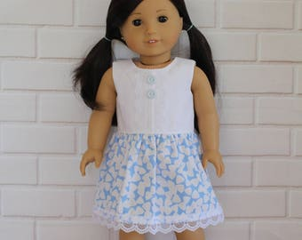 Blue White Sleeveless Summer Dress Doll Clothes to fit 18 inch dolls to 20 inch dolls such as American Girl & Australian Girl dolls