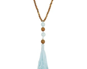 Sale - Tranquil Necklace - Tassel Necklace - Beaded Necklace - Yoga Jewelry - Wood Necklace - Stone Necklace - Yoga Necklace