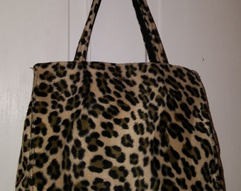 90's LEOPARD CHEETAH PURSE // Vintage Brown Black Animal Print Shoulder Bag Raver Punk Rocker Grunge
