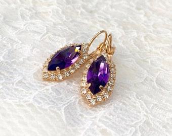 Purple Bridal Earrings Rich Purple Royal Purple Rose Gold Purple Bridesmaids Purple Wedding Purple Swarovski Crystal Bridal Drop Earrings