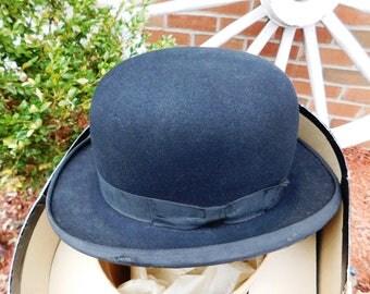 Vintage Sarnoff Irving Hat Stores Black Homburg Derby Bowler Hat & Box - 1930's - from DustyMillerAntiques