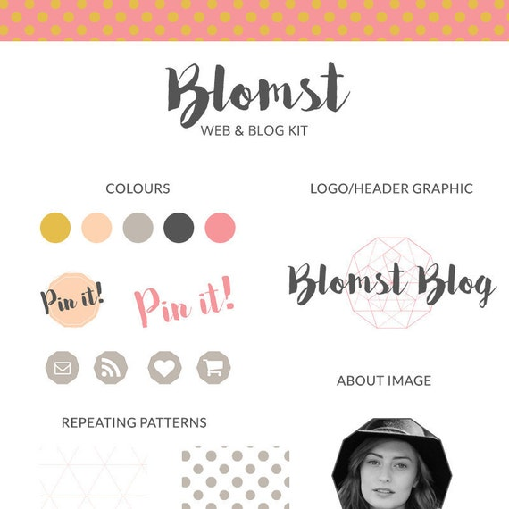Blog and web kit, blog branding kit, web branding kit, pre-made blog graphics kit - Blomst