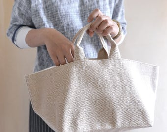 Simple top handle bag. Linen market tote. Style148N. Ready to ship