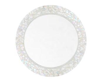 Round White Mosaic Mirror, Glass Mirror, Wall Mirror, White Home Decor