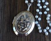 RESERVED FOR ELLEN - Large Vintage Sterling Silver Flower Locket Necklace, Freshwater Pearl Chain