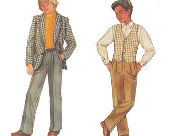 Simplicity 7019 Boy's Suit Fly-Front Pants, Lined Jacket, Lined Vest Vintage Sewing Pattern Size 8 Chest 27 in Vintage 1980s UNCUT
