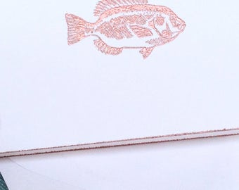 FISH, Copper, Embossed, Handmade, White, Folded Card, Envelope, Copper Edges, Blank, Message Inside, Fisherman, Father's Day