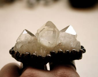 Massive Crystal Cluster Double Ring // Large Clear Quartz Statement Ring