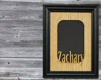 Personalized Name Picture Frame, School Picture Frame, Grandkids Frame, Grandparent Gift, Rustic Custom Laser Engraved Wood Frame