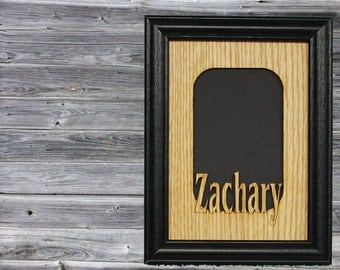 Personalized Name Picture Frame, School Picture Frame, Grandkids Frame, Grandparent Gift, Rustic Custom Laser Engraved Wood Frame