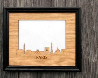 8x10 Paris Picture Frame, Paris Skyline Decor Gift for Paris Lover, Vacation Photo Frame, Vacation Memories, skylineseries