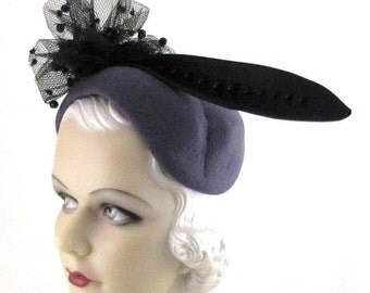Womens Hat Lavender Velour Fur Felt Black Feather Handmade Hat Mother of the Bride Church Derby Cloche Art Deco Custom Made for Each Client