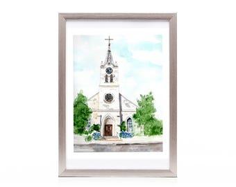 Watercolor art print, architectural art, white country church, Texas church, print from original art, small town art, wall art, wall decor,