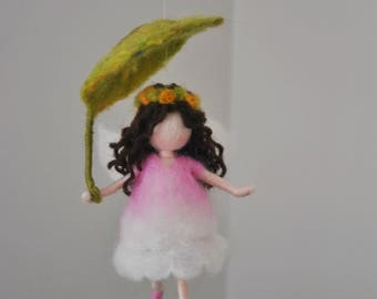 Small Spring Fairy  Needle Felted home ornament/ Easter decor   : Fairy with leaf