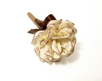 Personalized Rustic Wedding Pen Cream and Brown Paper Rose Twine Wrapped Pen Colors Can Be Customized