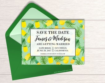 Pineapple Save The Date Invite - Printable Save The Date Card - Tropical Wedding Invitation - Pine Apple Engagement Announcement - SD02