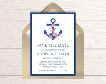Nautical Save The Date - Printable Save The Date Card - Anchor & Sea Shells Save The Date - By The Ocean - Wedding Date Announcement - SD03