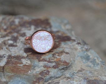 White drusy ring, white druzy ring rose gold druzy ring rose gold jewelry, white druzy jewelry
