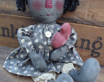Primitive Raggedy Doll Collectible Primitive Black Rag Doll