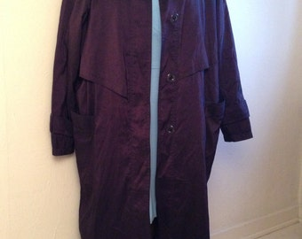 Purple Plum Trenchcoat with Storm Flap Detail, Size 8