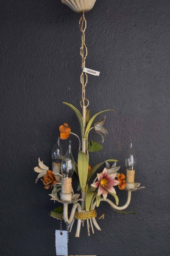 Colourful Italian tole Flower Chandelier with orange metal roses