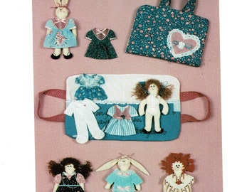 Fabric Paper Doll and Doll Clothes Pattern with Case, make from Fabric Scraps  New Uncut Vintage 1990s
