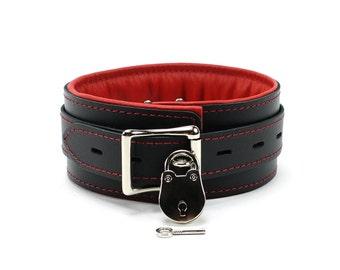 Bdsm Slave Collar Bdsm Leather Collar  2'' Padded Submissive Collar Locking Collar padded collar lambskin lined collar oddo leather