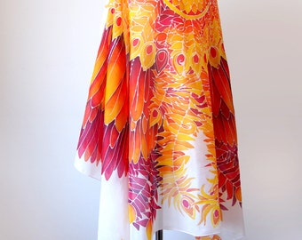 Wing sarong - Phoenix wings silk scarf - Firebird spread wings on silk hand painted pareo - XXL scarf - beach cover up - beach wrap