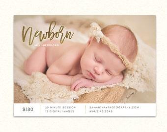 Newborn Mini Session Marketing Board Template - Photography Marketing Board - Newborn Birth Advertising Flyer MN001 - INSTANT DOWNLOAD