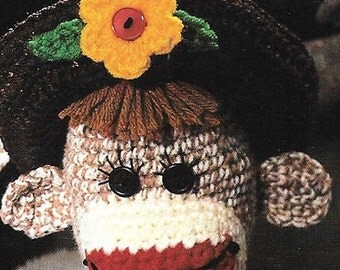 Leisure Arts Crocheted Sock Monkeys Retro Crochet,Toy Monkey Pattern Whimsical Rare Out of Print Crochet Patterns Brown Sock Monkey Pattern