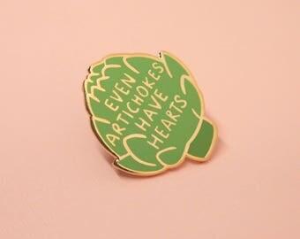 "Artichoke Enamel Pin (1.25"" Tall) // Hard Enamel - Enamel Pin - Pin - Lapel Pin - Flair - Brooch - Collar Pin - By Justine Gilbuena"