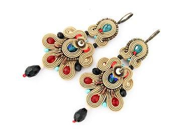 Long brown soutache earrings, bohemian colorful dangle earrings, large chandelier earrings, statement soutache earrings