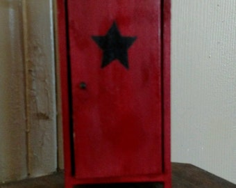 Hand-painted dollhouse miniature primitive red cabinet