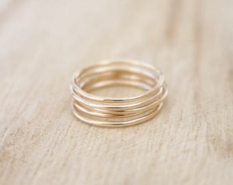 Ultra thin gold stacking rings, set of 5 gold rings, smooth gold rings, dainty gold ring, gold ring, gold rings, 14k gold fill