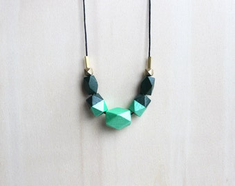 dark green wooden necklace, hand painted statement necklace for her, everyday necklace, eco-friendly