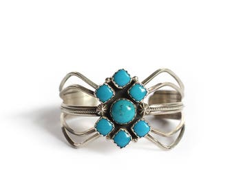 Vintage Navajo Sterling Silver Turquoise Cluster Cuff Bracelet - Native American Satellite Jewelry Redwater