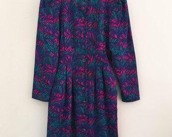 vintage psychedelic dress / long sleeve / boho dress / marbled pattern / small - medium