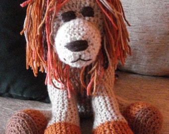 "Crocheted lion stuffed animal doll  toy ""Luther"""