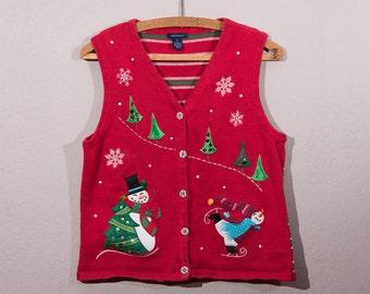 Ugly Christmas Sweater, Ugly Christmas Vest, Vintage Christmas Sweater, Vintage Christmas Vest, Kitschy Christmas