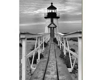 Brant Point Nantucket Lighthouse Photography Lighthouse Black White Wall Art Nautical Decor Coastal Photography New England Fine Art Print