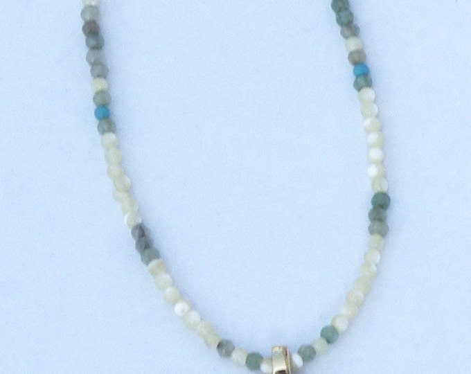 Necklace with a pendant Horn and semiprecious beads