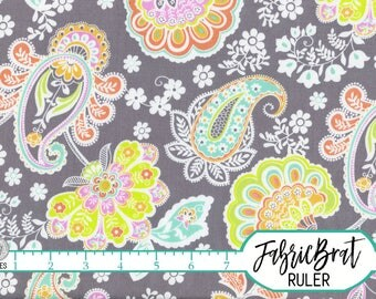 MINT GRAY & CHARTREUSE Fabric by the Yard Fat Quarter Paisley Floral Fabric Quilt Fabric 100% Cotton Fabric Apparel Fabric Yardage a2-20