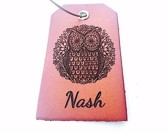 Leather Luggage Tag, Owl, Travel Tag, Personalized Name Luggage Tag, Monogrammed, Genuine Leather, Custom Bag Tag,
