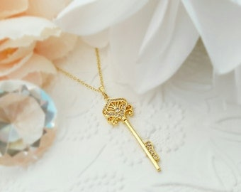 Gold Key Necklace, Crystal Key Pendant, Gold CZ Necklace, Valentine, For Her, Sparkly Key Charm, Love, Romance, Significant Other, N5806