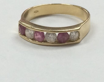 GORGEOUS 14K GOLD Ruby and CZ Band Stackable Ring Size 8.25