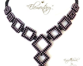 "Beading Pattern : ""Elementary"" Necklace in English  D.I.Y."