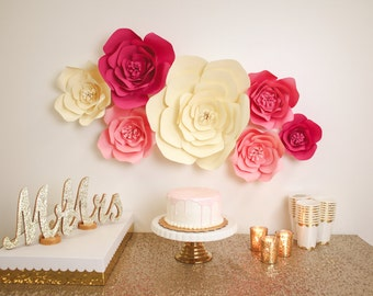 Large, Medium, Small Paper Flower, Large Paper Flower, Fully Assembled Handmade Paper Flower Decor, Giant Paper Flower,  Flower Backdrop