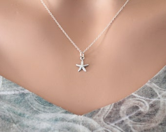 Sterling Silver Tiny Starfish Necklace, Small Silver Starfish Charm Necklace, Starfish Necklace, Simple Ocean Animal Necklace